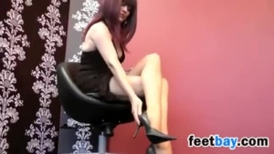 Anal sex loving brunette, Sandy is wearing high heels, while having wild sex with a guy