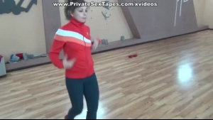 Aged dancer rides her client in the dance studio