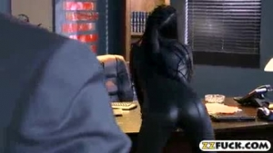 Attractive black lady with huge boobies assfucked by white dude