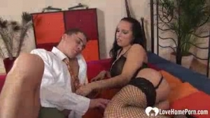 Busty Kelly spreads legs just right for cock