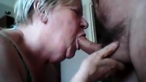Horny granny and horny young boy sucking
