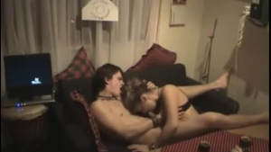 Horny college couple fucking at the party